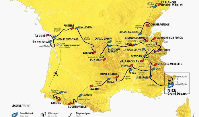 Tour De France 2020 La Carte Du Parcours Les Details Et Le Profil Des Etapes 3bikes Fr